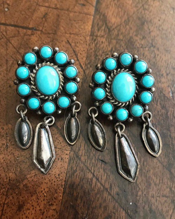 Turquoise Cluster Style Earrings