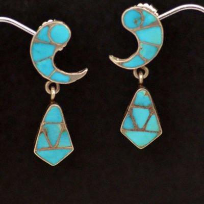 Vintage Inlaid Blue Gem Earrings