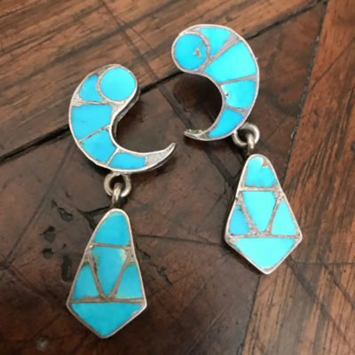 Vintage Inlaid Blue Gem Earrings