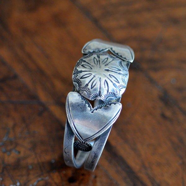 Silver Isleta Pueblo Bracelet with Butterflies