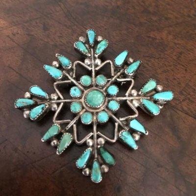 Zuni Turquoise Snow Flake Pin