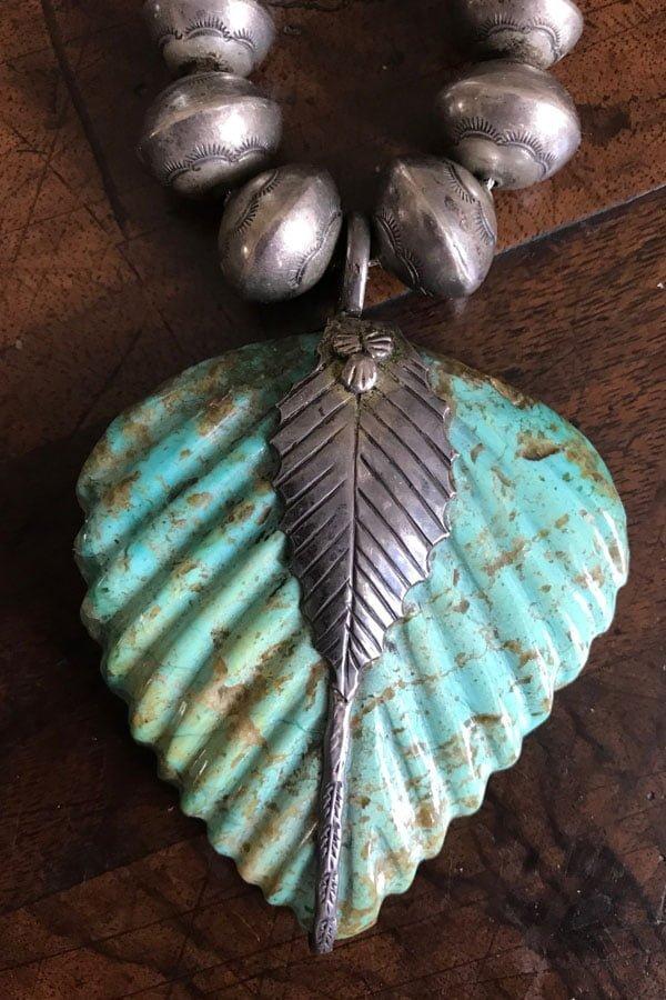 Attributable- Lee Edaakie Carved Turquoise Leaf