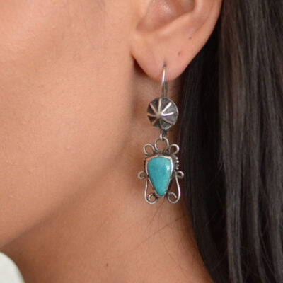 Circa 1930's Navajo Turquoise Earrings