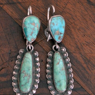 Long Green Turquoise Drop Earrings