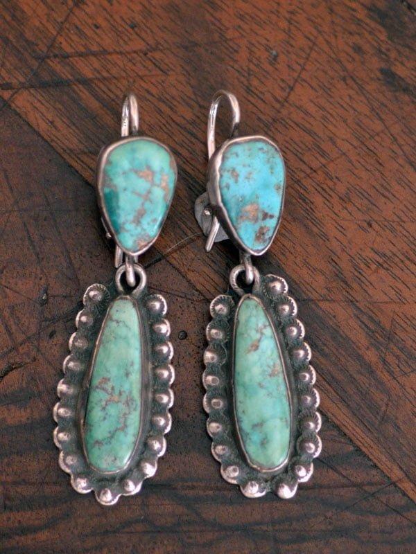 Long Green Turquoise Drop Earrings
