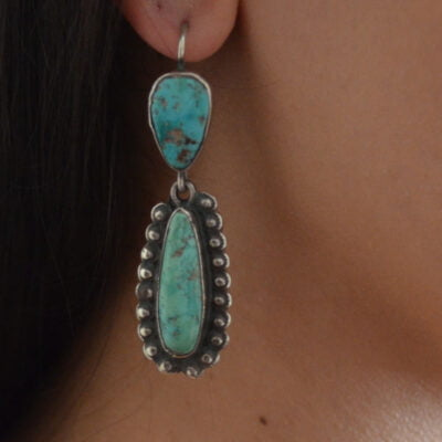 Navajo Long Green Turquoise Drop Earrings