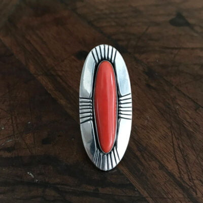 Navajo Coral Ring by Mary Marie Yazzie