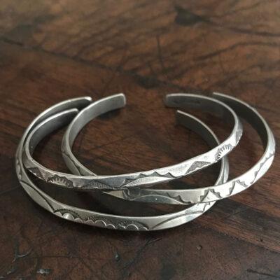 Silver Navajo Hand Stamped Bracelets