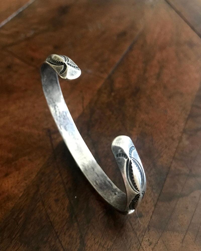 Hand Stamped Navajo Bracelet With Three Stones