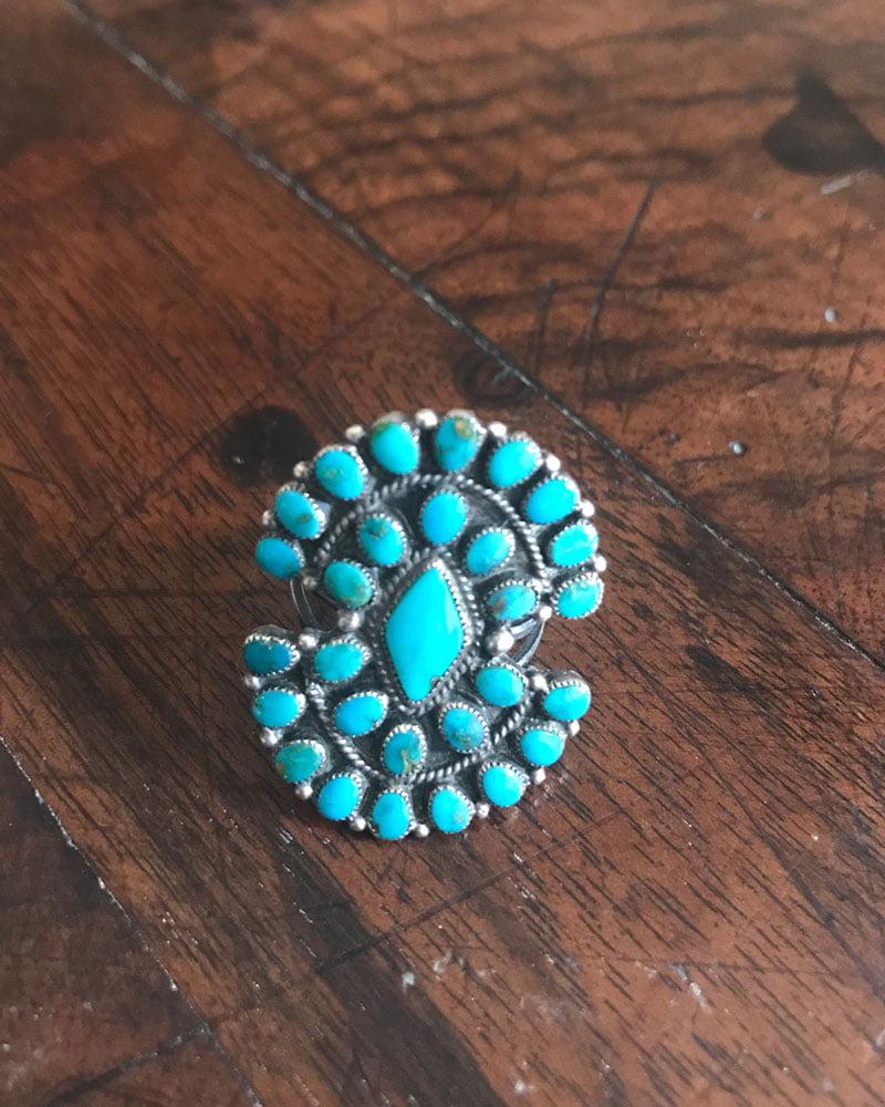 Zuni Blue Gem Turquoise Cluster Ring
