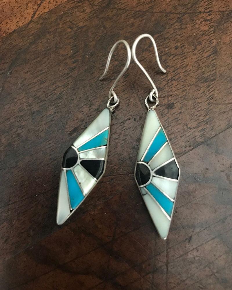 Beautiful Inlaid Zuni Earrings c 1960's