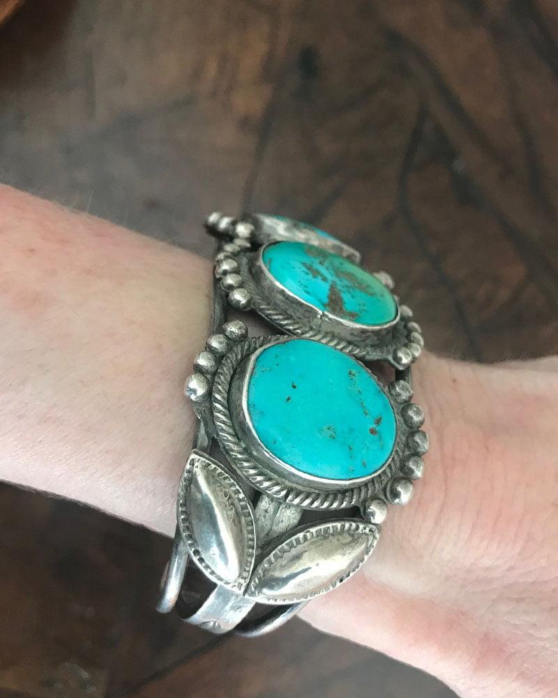 Navajo Three Stoned Turquoise Bracelet c.1930's