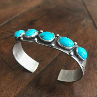 Navajo Turquoise Row Bracelet With 5 Stones