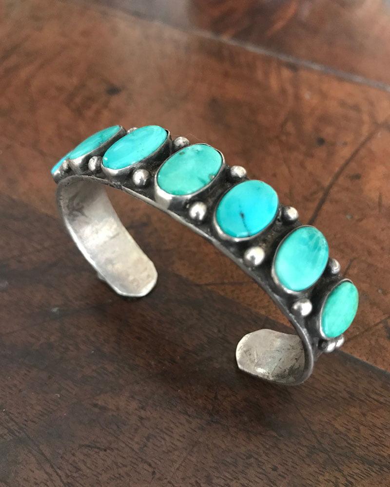 Navajo Row Bracelet with Seven Turquoise Stones