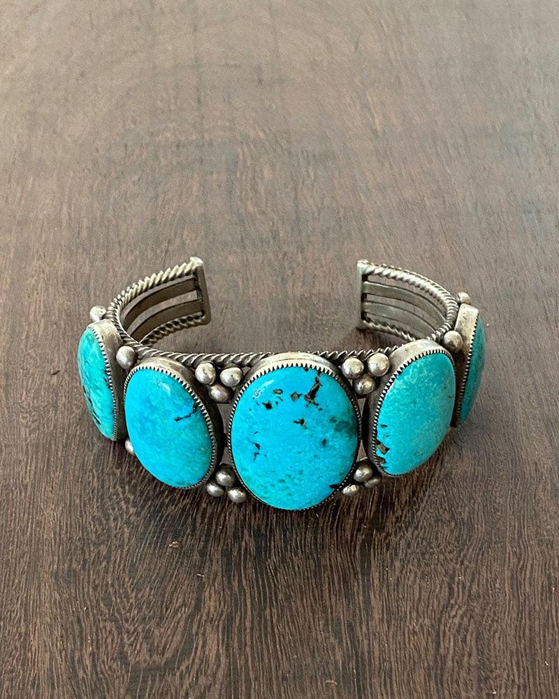 A Fabulous Turquoise Mountain 5 Stone Bracelet