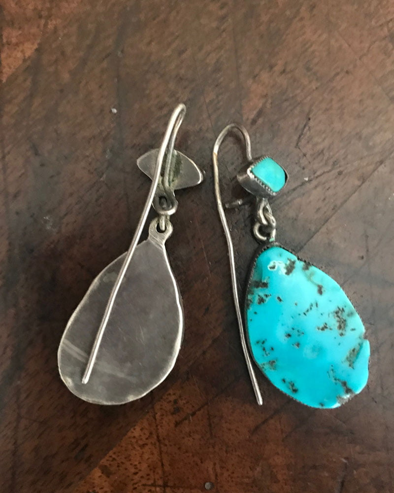 Natural Blue Gem Turquoise Earrings